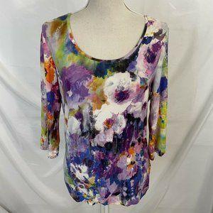 Escada Fantasy Floral Artsy Knit Pullover Top 38
